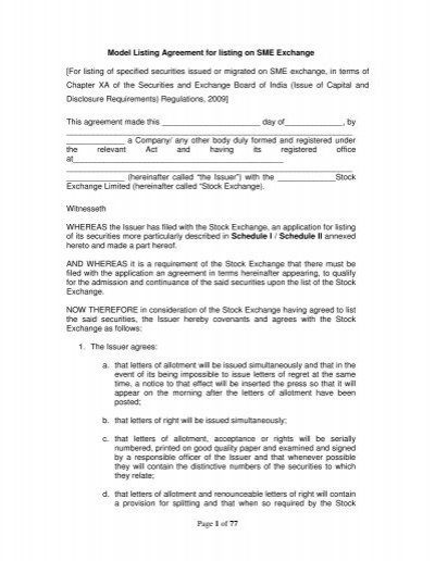 Of 77 Model Listing Agreement For Listing On Sme Exchange Nse