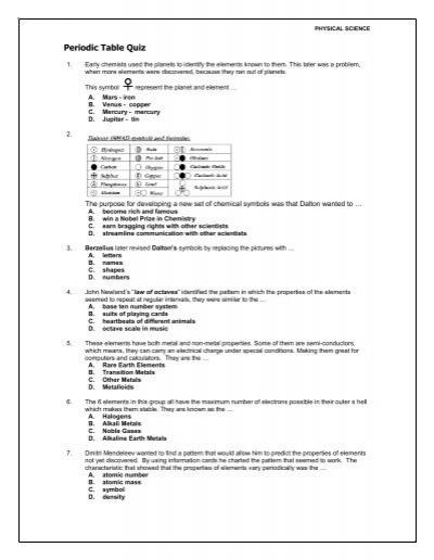 Periodic Table Quiz Edquest Science