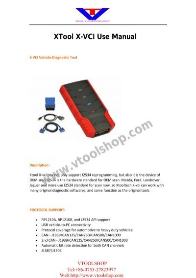 Xtool X Vci Manual pdf - Car Diagnostic Tool