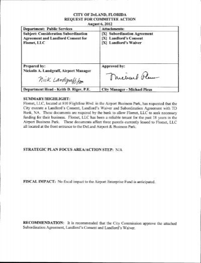 Consideration Re Subordination Agreement And City Of Deland