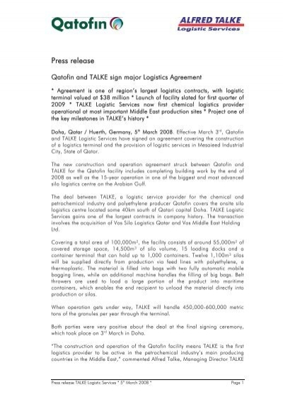 Qatofin And Talke Sign Major Logistics Agreement Sa Talke