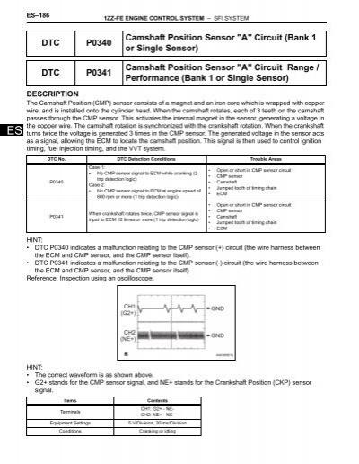 DTC P0340 Camshaft Position Sensor