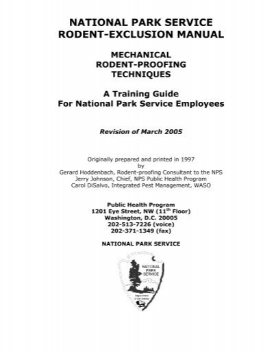 rodent exclusion manual national park service rh yumpu com national park service uniform manual national park service reference manuals