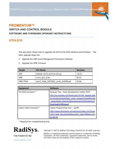 Promentum Atca 2210 Software And Firmware Radisys