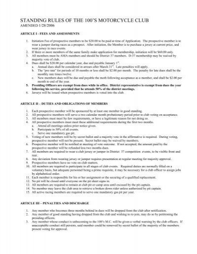 motorcycle club bylaws template | Displanet.net