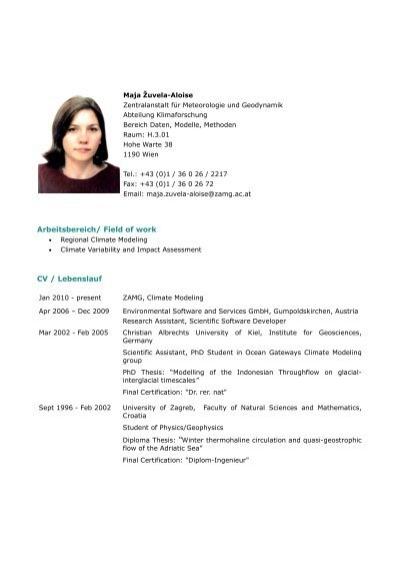 arbeitsbereich field of work cv lebenslauf zamg - Cv Lebenslauf