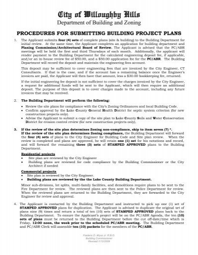 Procedures For Submitting Building Project Plans Willoughby Hills