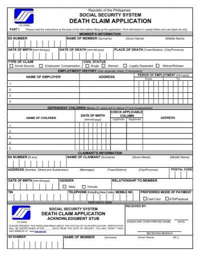 death claim application