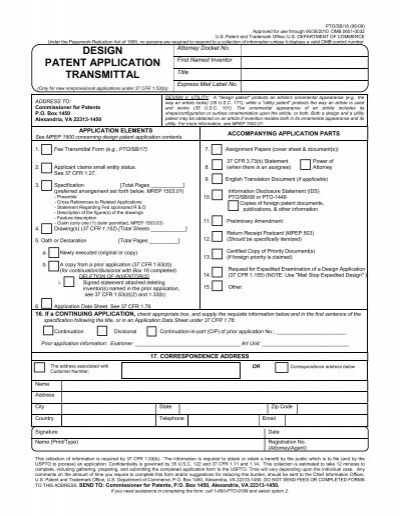 DESIGN PATENT APPLICATION TRANSMITTAL - United States ...