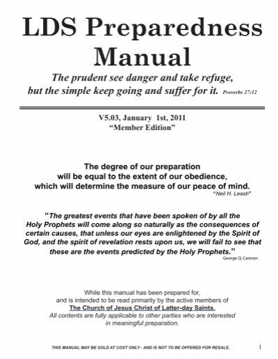 Lds Preparedness Manual The Survival Mom