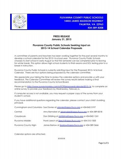 press release calendar proposals 2013 14 pdf fluvanna county