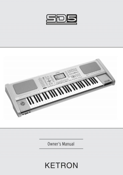 manual for the sd5 ketron us