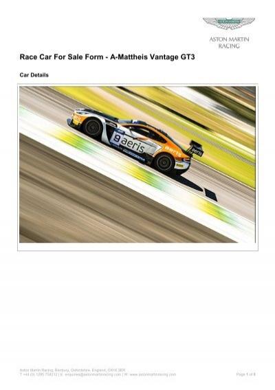 Race Car For Sale Form A Mattheis Vantage Gt3 Aston Martin