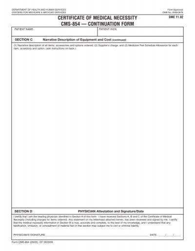 Certificate Of Medical Necessity Cms  Continuation Form