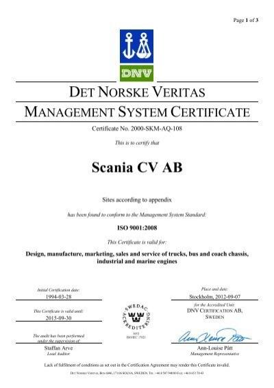 scania cv ab q certificate no  2000