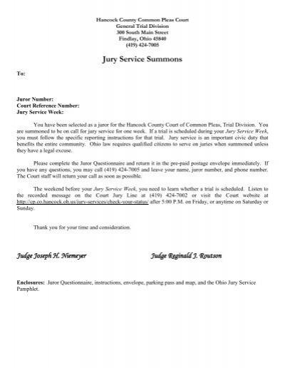 jury service summons