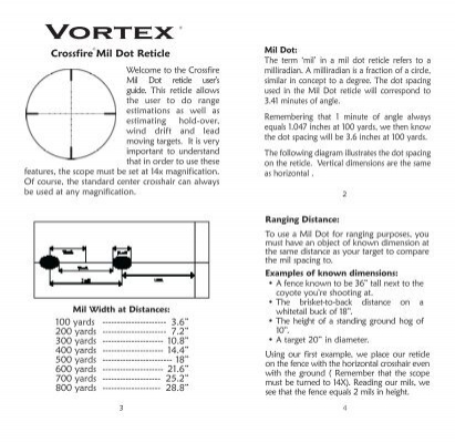 Vortex mil-dot reticle manual - EuroOptic com