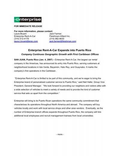 Enterprise Rent-A-Car Expands into Puerto Rico: Company
