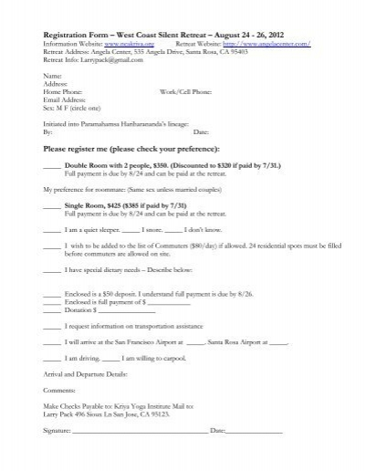 Bhakti Yoga India Retreat Tour Reservation and Release Form Tour – Tour Reservation Form
