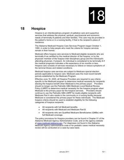 Chapter 18 Hospice Alabama Medicaid Agency Manual Guide