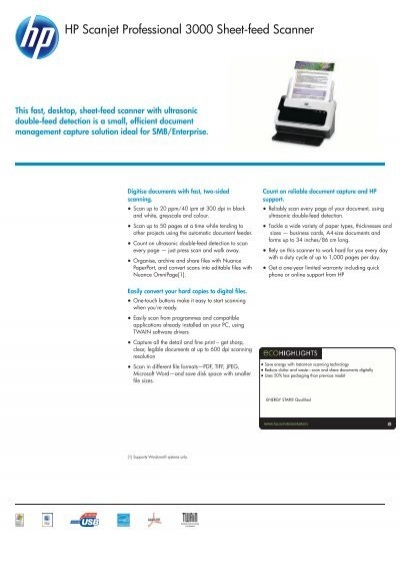 hp scanjet professional 3000 sheet feed scanner product rh yumpu com