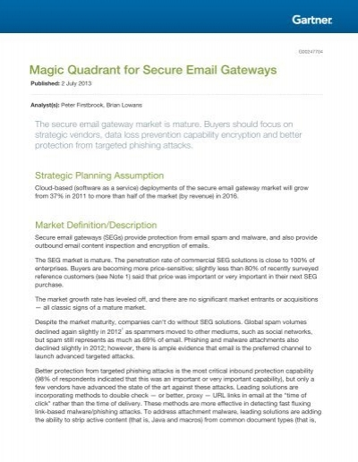 Magic Quadrant for Secure Email Gateways - Proofpoint | Gradian