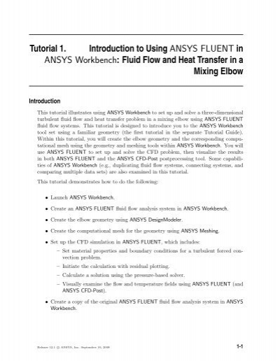 Tutorial 1  Introduction to Using ANSYS FLUENT in     - SHARCNet