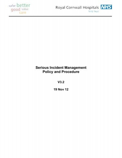 Serious incident management policy and procedure - the Royal ...
