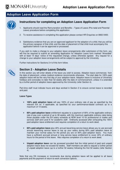 Adoption Leave Application Form Adoption Leave Application Form