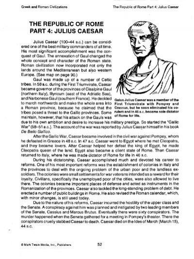 The Republic Of Rome Part 4 Julius Caesar Thematthatters