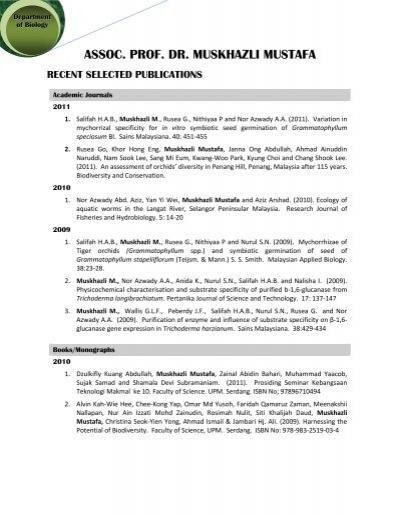 Assoc Prof Dr Muskhazli Mustafa Recent Selected Publications Upm
