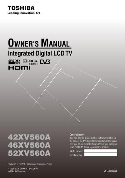 42xv560a 46xv560a 52xv560a blake television video rentals rh yumpu com