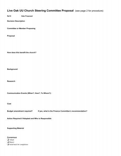 steering committee proposal template live oak unitarian