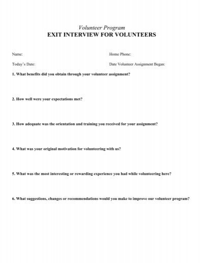 Volunteer Program Exit Interview For   - Literacynet.Org