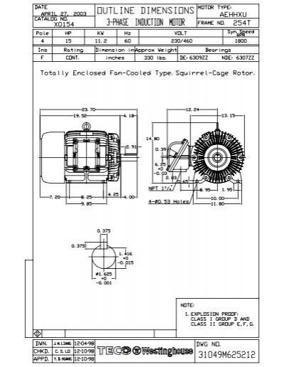 teco westinghouse motor dimensions