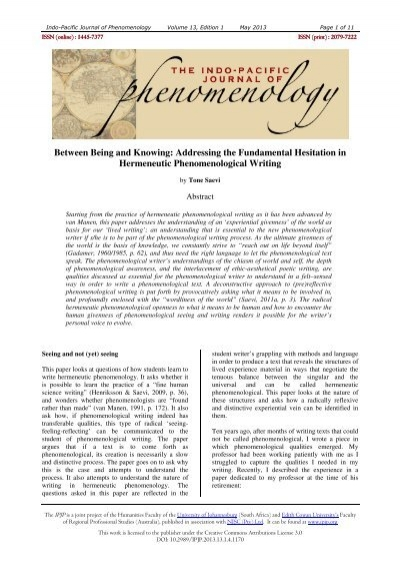Indo-Pacific Journal of Phenomenology
