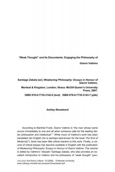 Weakening Philosophy Essays In Honour Of Gianni Vattimo  Weakening Philosophy Essays In Honour Of Gianni Vattimo  Do My Assignment For Me Do My Assignment also What Is Thesis In Essay  Thesis Essay Example
