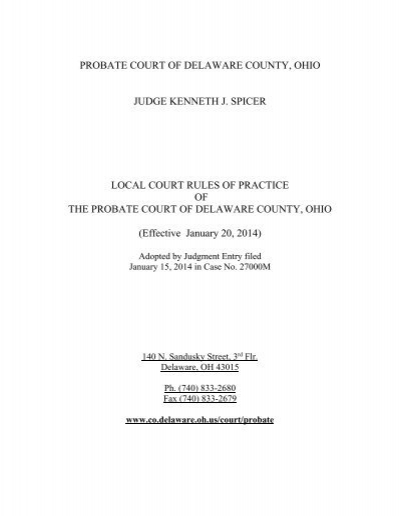 Delaware County Probate Court Local Rules Delaware County Ohio