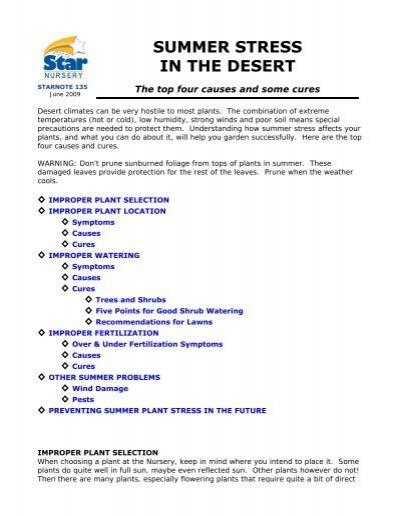 Summer Stress In The Desert Star Nursery