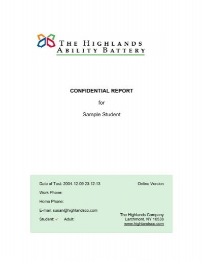 Sample Student Report | Confidential Report For Sample Student The Highlands