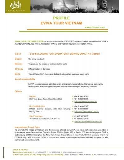 PROFILE EVIVA TOUR VIETNAM - World  Travel Market