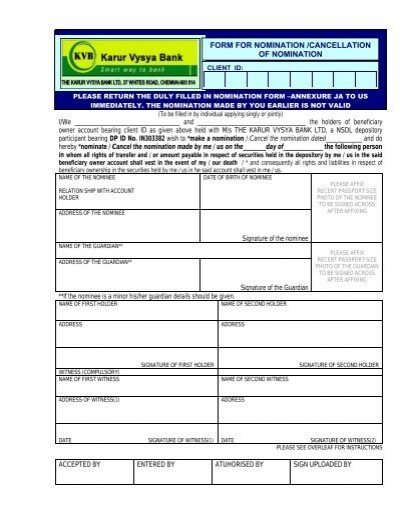 FORM FOR NOMINATION /CANCELLATION OF ... - Karur Vysya Bank Online Application Form Of Karur Vysya Bank on