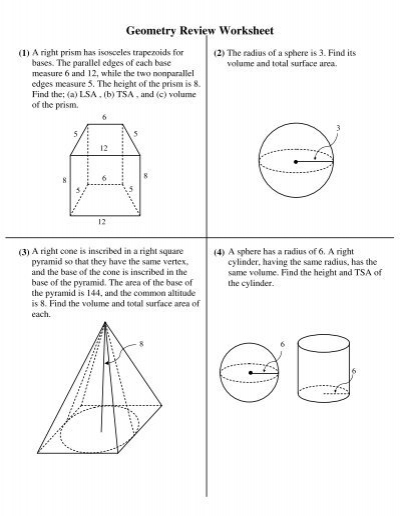 Geometry Review Worksheet