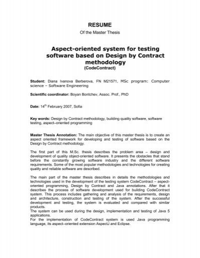 Resume Aspect Oriented System For Testing Software Based On
