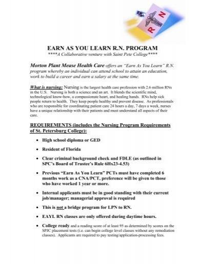 EARN AS YOU LEARN R.N. PROGRAM