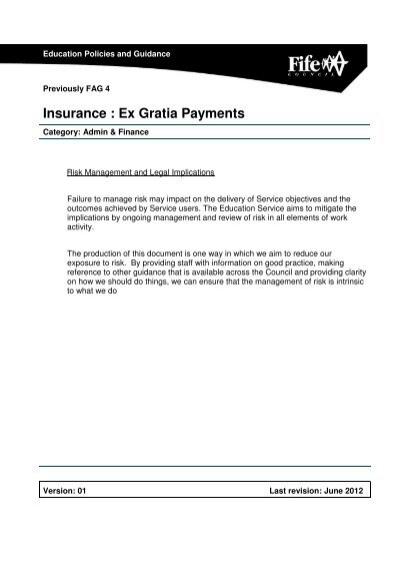 Insurance Ex Gratia Payments Home Page