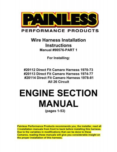 Painless Wiring Harness For Camaro Trusted Schematics Diagram