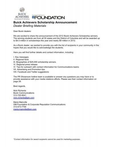 Buick Achievers Scholarship >> Buick Achievers Scholarship Announcement Dealer Cadillac
