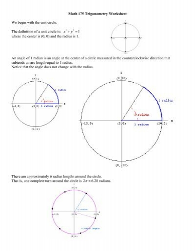 math 175 trigonometry worksheet we begin with the unit circle the. Black Bedroom Furniture Sets. Home Design Ideas