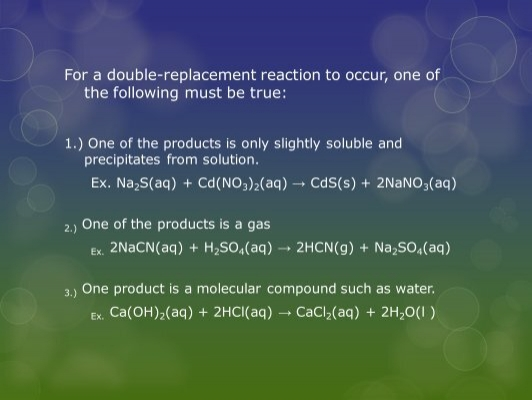 More Examples of – Worksheet 5 Double-replacement Reactions